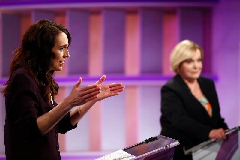 FILE PHOTO: New Zealand Prime Minister Ardern and National leader Collins debate in Auckland