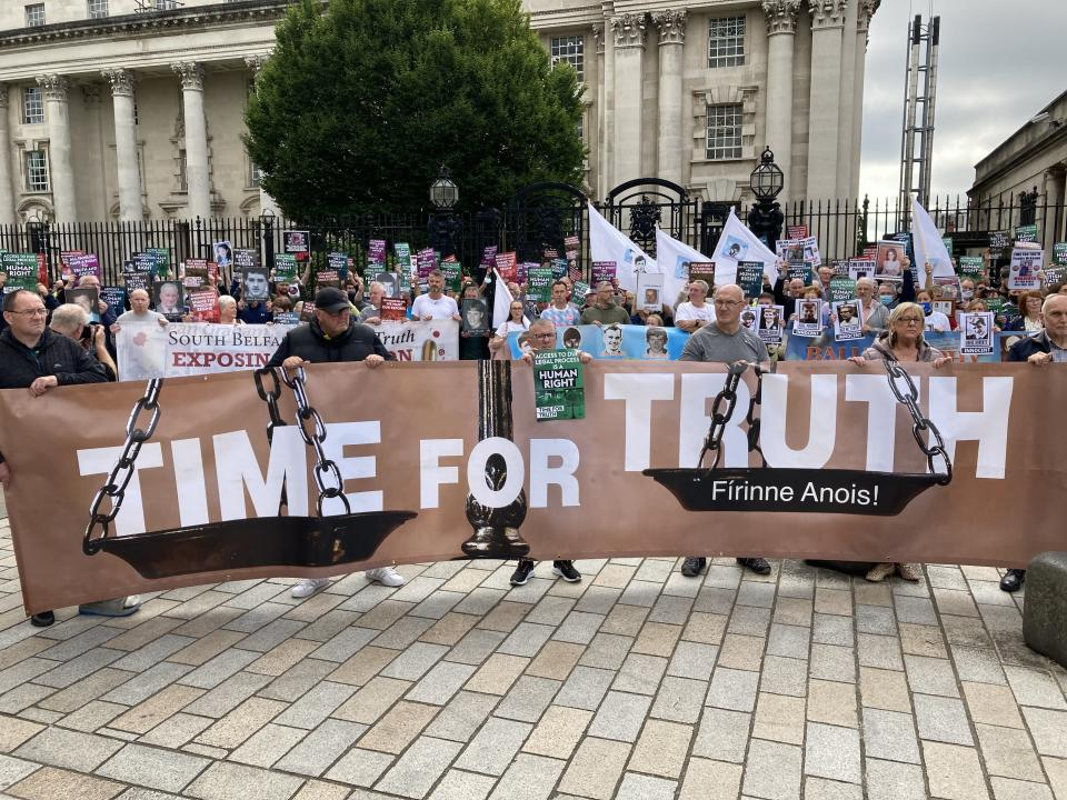 The Time For Truth campaign demonstration outside the courts in Belfast (Rebecca Black/PA)
