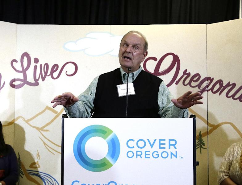 FILE - In this Oct. 1, 2013 file photo, Cover Oregon executive director Rocky King speaks during the rollout of Oregon's health insurance exchange in Portland, Ore. With all the problems facing the rollout of President Barack Obama's health care overhaul, nowhere is the situation worse or more surprising than in Oregon, a progressive state that has enthusiastically embraced the federal law but has so far failed to enroll a single person in coverage through Cover Oregon. (AP Photo/Don Ryan, File)
