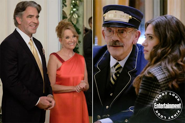 """<p><strong>Premieres:</strong> Nov. 6, 8 p.m. ET/PT, Hallmark Channel</p> <p><strong>Stars:</strong> Lyndsy Fonseca, Chandler Massey, Lea Thompson, Christopher Lloyd </p> <p><strong>Contains:</strong> Time-travel train, <em>Back to the Future</em> reunion</p> <p><strong>Official description:</strong> """"Angie wonders what her life would be like if she had married a former boyfriend who became a famous sportscaster. She takes the train home to spend Christmas with her family and inexplicably finds herself 10 years in the past. With the advice of the train's enigmatic conductor, Angie has the chance to revisit that Christmas and learn what — and who — is truly important to her.""""</p>"""