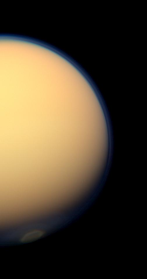 The south polar vortex of Saturn's moon Titan stands out in this natural-color view from NASA's Cassini spacecraft, snapped on July 25, 2012.
