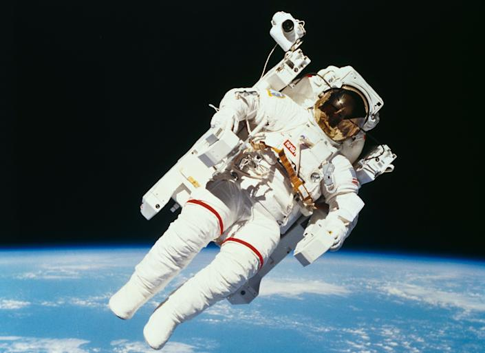 NASA astronaut Bruce McCandless II, 80, the first human to float untethered in outer space, died on Dec. 21, 2017.
