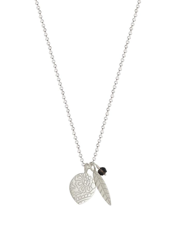 """<p>Sterling Silver Double-Sided Paisley Lotus Feather with Smoky Quartz Bead Pendant Necklace, $75, <a rel=""""nofollow"""" href=""""https://www.amazon.com/Me-Ro-Sterling-Double-Sided-Necklace/dp/B01LC85GGG/ref=sr_1_44?ie=UTF8&qid=1476642139&sr=8-44&keywords=me%26ro"""">amazon.com</a> </p>"""