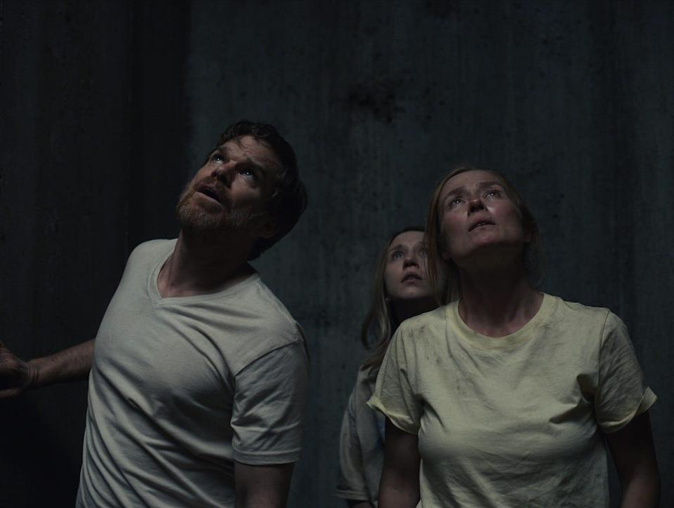 """""""John and the Hole"""" (Aug. 6, theaters and video on demand): In the dark family fable, a teenage boy who drugs his dad (Michael C. Hall, far left), sister (Taissa Farmiga) and mom (Jennifer Ehle) and sticks them at the bottom of an unfinished bunker while he lives life his own way."""