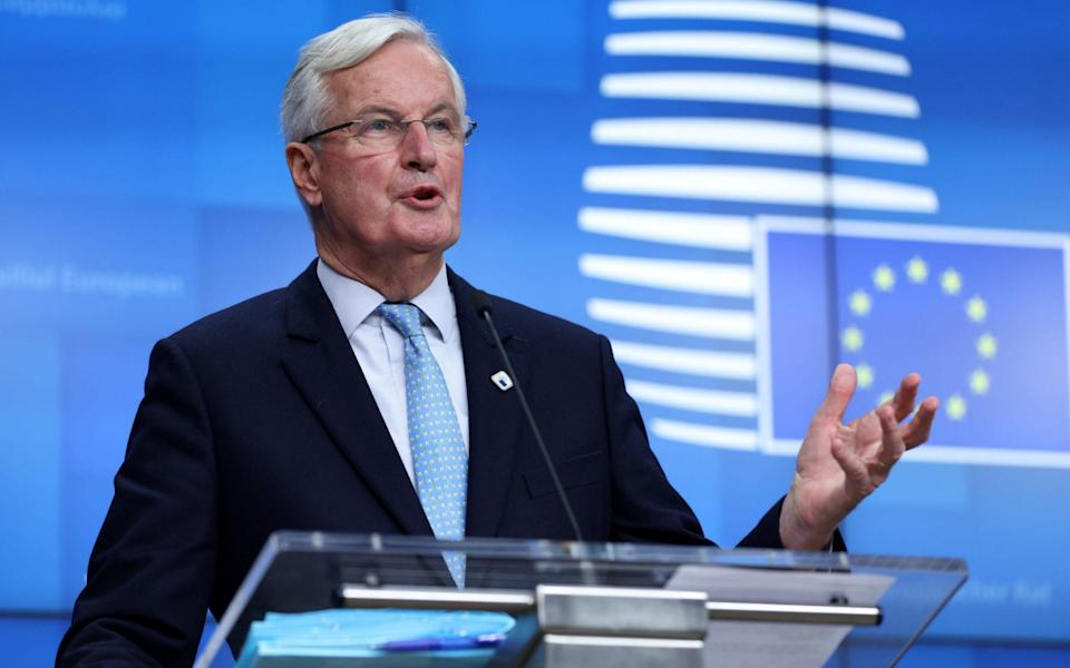 European Commission's Head of Task Force for Relations with the United Kingdom Michel Barnier gives a press conference on the first day of the face-to-face European Union (EU) summit at the European Council Building in Brussels, on October 15, 2020 - KENZO TRIBOUILLARD/AFP