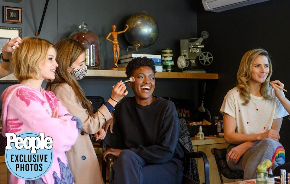 <p>Sarah Jones, Krys Marshall and Shantel VanSanten from the cast of Apple TV's <em>For All Mankind</em> get glam while preparing for a photo shoot. </p>