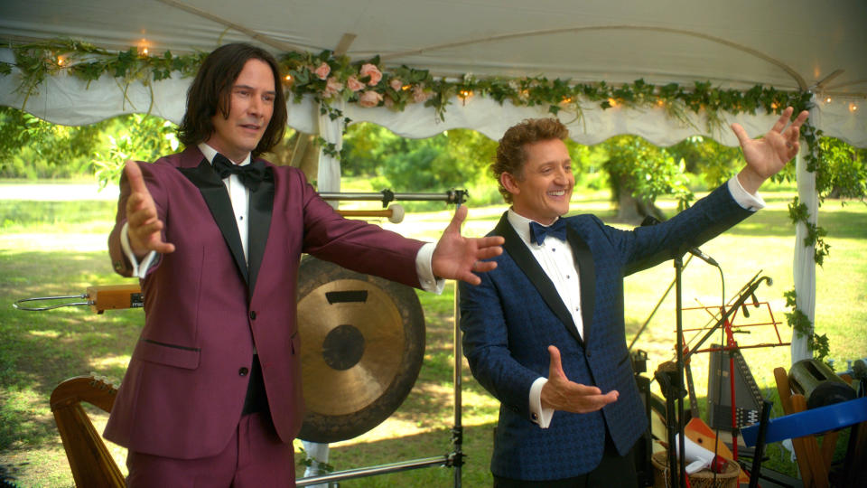 Keanu Reeves and Alex Winter return in 'Bill and Ted Face the Music'. (Credit: Warner Bros)