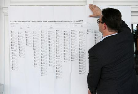 Election staff puts up a list of candidates for the European elections at a polling place at the Kurhaus in Scheveningen, Netherlands May 23, 2019. REUTERS/Piroschka van de Wouw