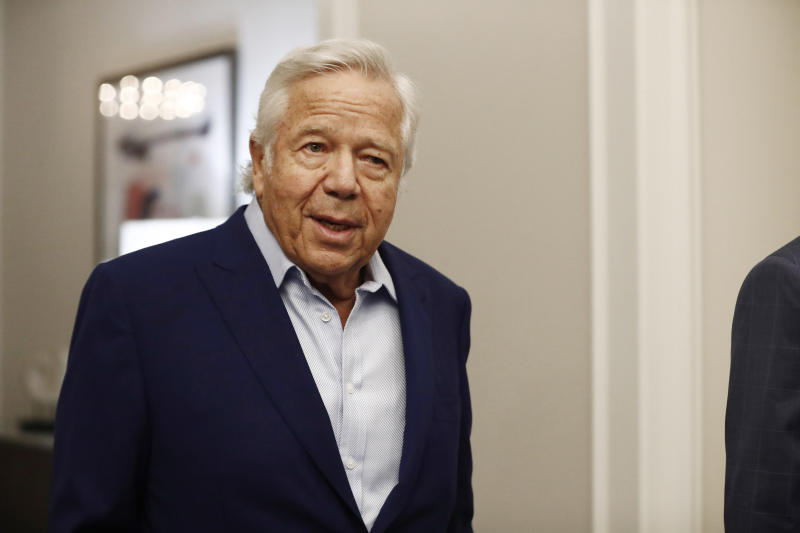 Robert Kraft arrives to the NFL owners meeting in May 2019.