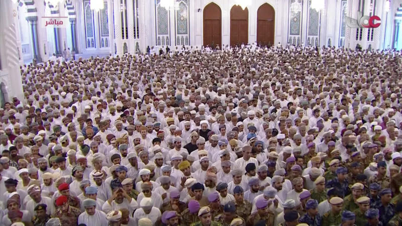 This image made from video shows people attend the funeral of Oman's Sultan Qaboos bin Said at Sultan Qaboos Grand Mosque in Muscat, Oman, Saturday, Jan. 11, 2020.  Sultan Qaboos bin Said, the Mideast's longest-ruling monarch who seized power in a 1970 palace coup and pulled his Arabian sultanate into modernity while carefully balancing diplomatic ties between adversaries Iran and the U.S., has died. He was 79. (Oman TV via AP)