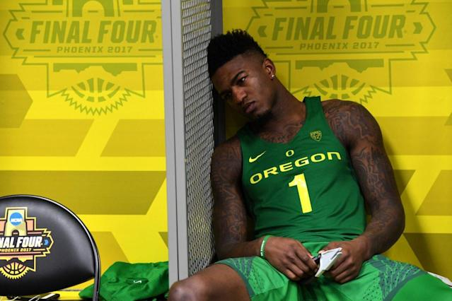 Oregon's Jordan Bell reacts to his team's Final Four loss in the locker room on Saturday. (Getty)