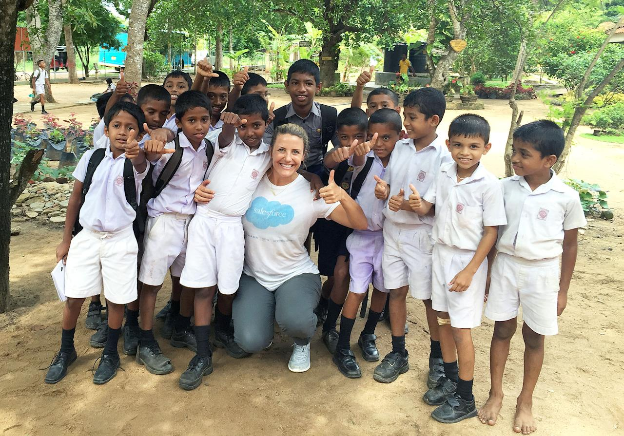 """<p>An employee participates in Global Volunteer Week.<a rel=""""nofollow"""" href=""""http://reviews.greatplacetowork.com/salesforce?utm_source=fortune&utm_medium=referral&utm_content=reviews-link&utm_campaign=2017-Care-list""""><strong>Salesforce</strong></a> is an information technology company that primarily sells customer relationship management tools. Employees receive seven paid days off to volunteer.In March 2016, the company surpassed its goal of 17,000 volunteer hours, with employees working at 1,250 nonprofits worldwide, all part of its Global Volunteer Week</p>"""