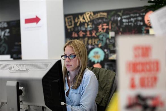 A Facebook employee works in the design studio at the company's headquarters in Menlo Park, March 2, 2012.
