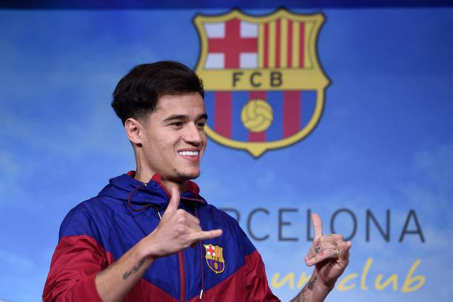 "<a class=""link rapid-noclick-resp"" href=""/soccer/players/philippe-coutinho/"" data-ylk=""slk:Philippe Coutinho"">Philippe Coutinho</a> was unveiled as a <a class=""link rapid-noclick-resp"" href=""/soccer/teams/barcelona/"" data-ylk=""slk:Barcelona"">Barcelona</a> player Sunday. (Getty)"