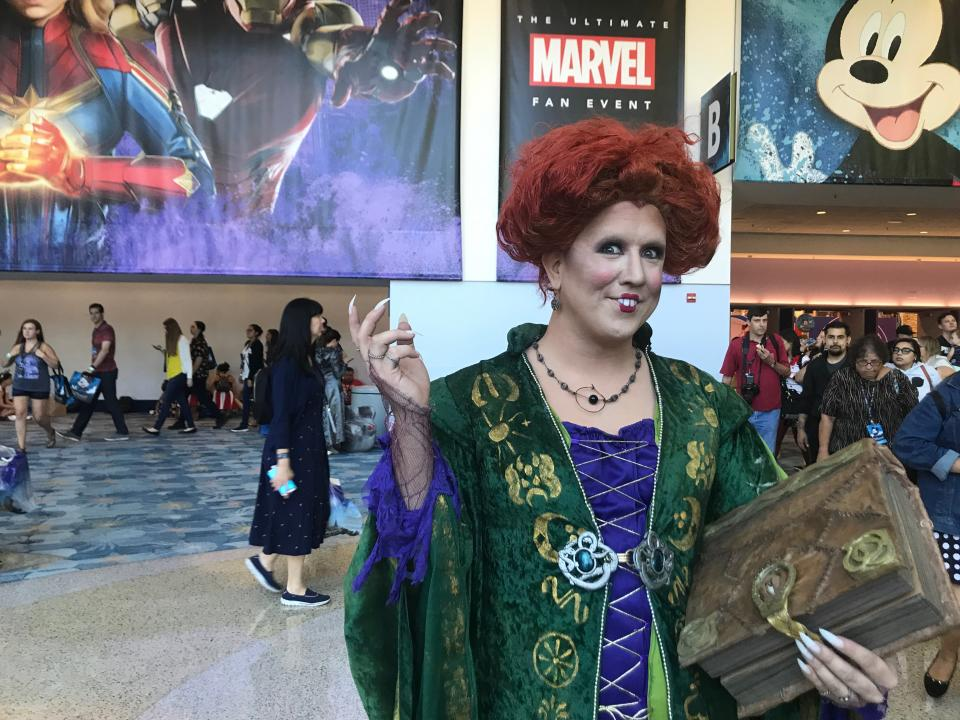 Nicole Halliwell as Winifred Sanderson at the D23 expo. Image: Yahoo Finance