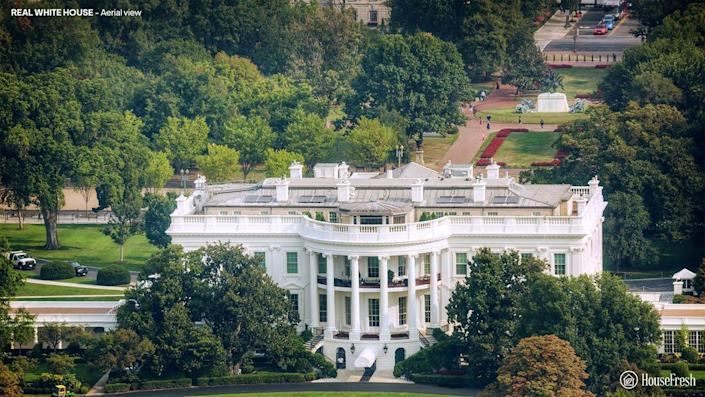 Aerial view of the White House, based on a project by Irish architect James Hoban.