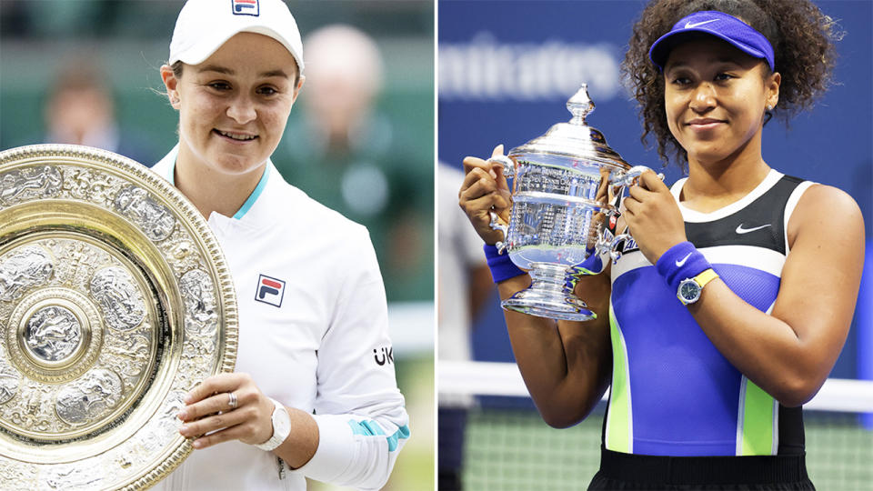 Naomi Osaka and Ash Barty, pictured here in action ahead of the US Open.