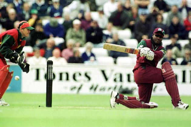 15 Jul 2000: Brain Lara of West Indies on his way to 87 during the Natwest One day Series International between Zimbabwe and West Indies at Riverside Ground, Chester-le-Street, Durham.  Mandatory Credit: Tom Shaw/ALLSPORT