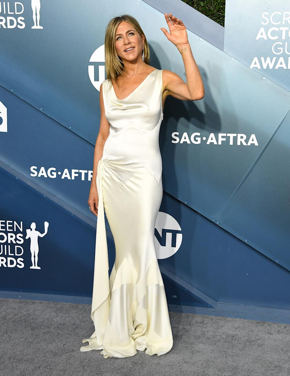 LOS ANGELES, CALIFORNIA - JANUARY 19: Jennifer Aniston arrives at the 26th Annual Screen ActorsGuild Awards at The Shrine Auditorium on January 19, 2020 in Los Angeles, California. (Photo by Steve Granitz/WireImage)