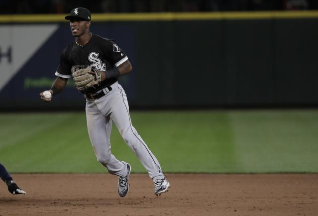 Chicago White Sox shortstop Tim Anderson looks to the infield after making a force out against the Seattle Mariners during a baseball game, Friday, July 20, 2018, in Seattle. (AP Photo/Ted S. Warren)