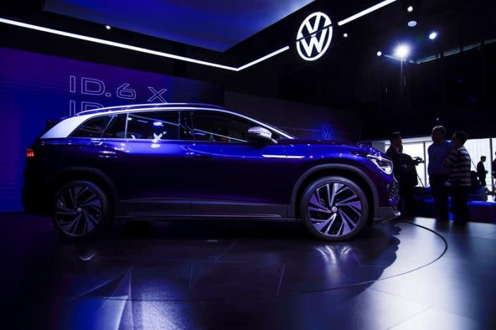 A Volkswagen ID.6 X is displayed ahead of the Shanghai Auto Show, in Shanghai