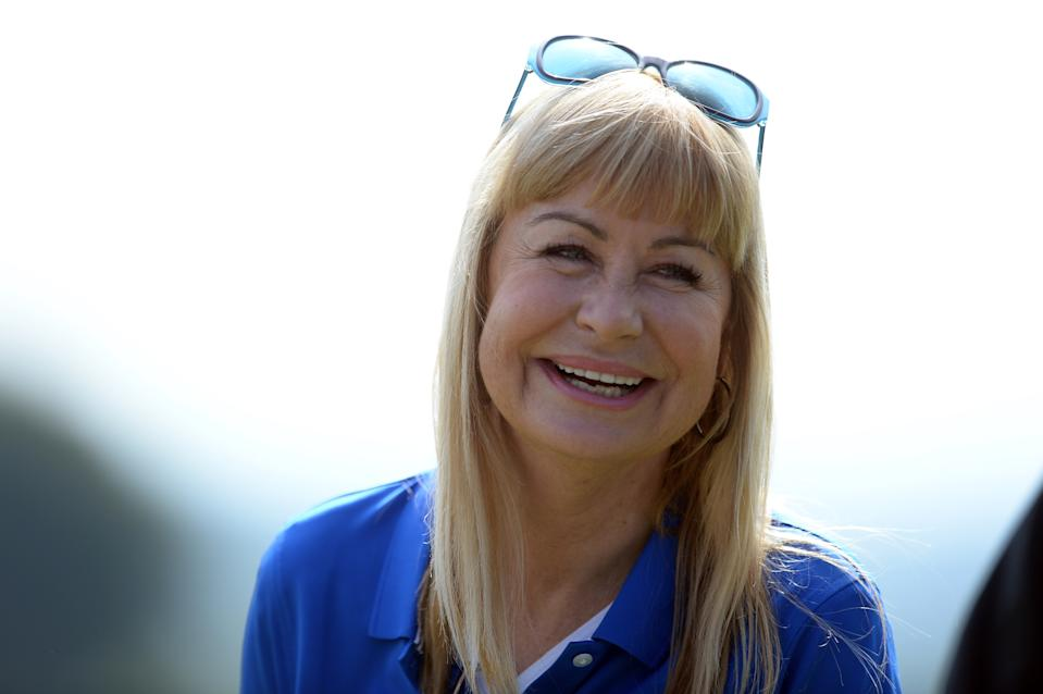Newport, Wales 14th July    Former TV weather presenter Sian Lloyd during the Bulmers Celebrity Cup at Celtic Manor, Newport on Sunday 14th July 2019 (Pic: Jeff Thomas | MI News) (Photo by MI News/NurPhoto via Getty Images)