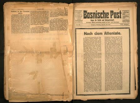 A digitalised image of the front page of the June 30, 1914 edition of the Bosnische Post, after the assassination of the heir to the Habsburg throne, Archduke Franz Ferdinand, is released to Reuters August 20, 2014. REUTERS/National Libary Sarajevo/Handout via Reuters