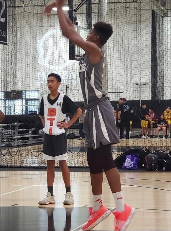 """Semaj Miller shoots a free throw during a youth basketball game. <span class=""""copyright"""">(From the Miller family)</span>"""