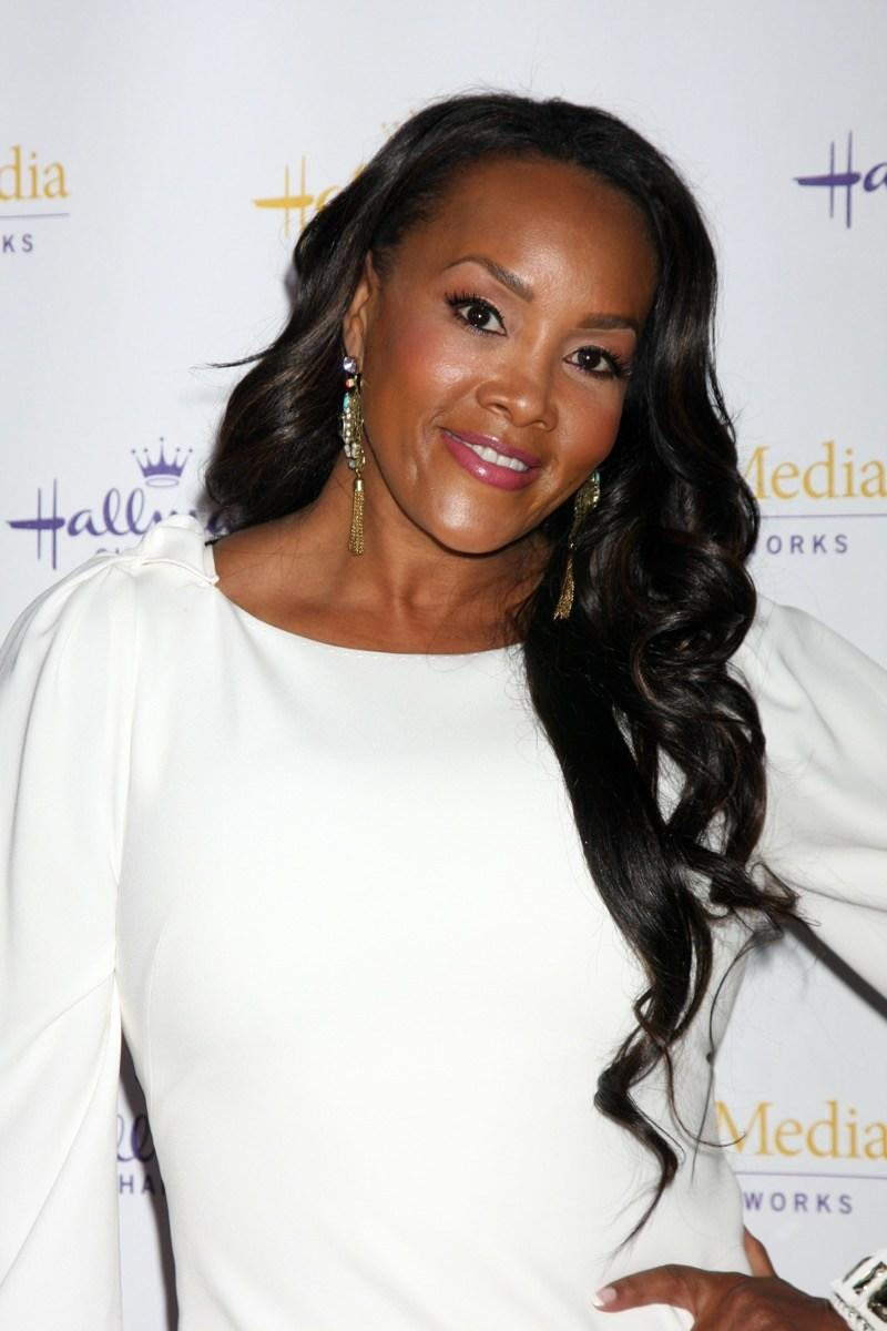 Vivica A. Fox wears a white dress at the Hallmark Channel TCA Party in 2012