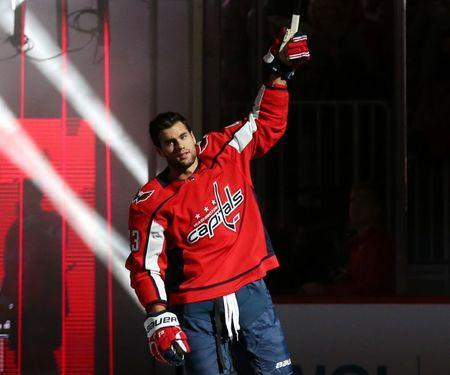 FILE PHOTO: Oct 3, 2018; Washington, DC, USA; Washington Capitals right wing Tom Wilson is introduced before the game against the Boston Bruins at Capital One Arena. Mandatory Credit: Geoff Burke-USA TODAY Sports