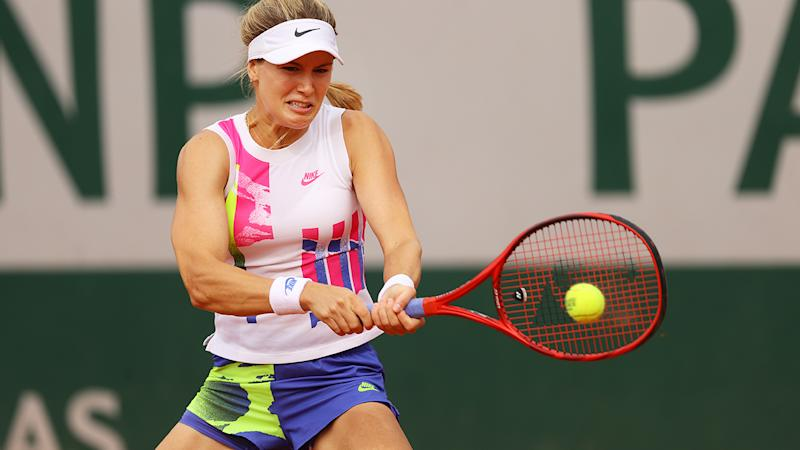 Eugenie Bouchard plays a backhand against Daria Gavrilova at the French Open. (Photo by Julian Finney/Getty Images)