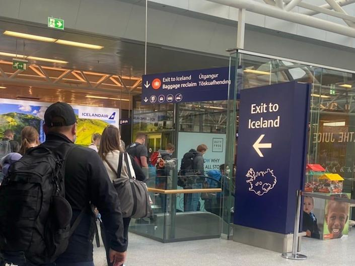 Exit to Iceland sign