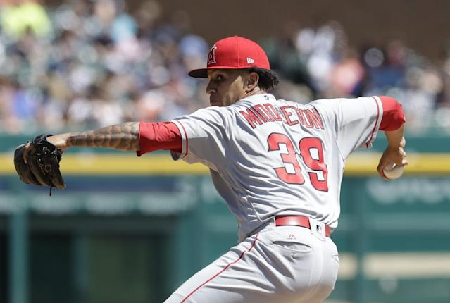 Rookie pitcher Keynan Middleton is one of the reasons why the Angels didn't just flat-line without Mike Trout. (AP Images)