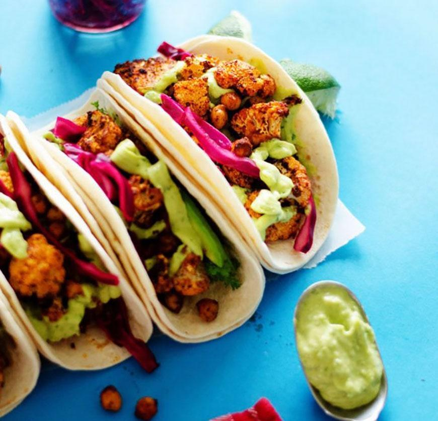 """<p>A combo of cauliflower and chickpeas, plus lots of spice, makes these tacos flavorful and filling tacos.</p> <p>Get the recipe <a href=""""https://www.liveeatlearn.com/roasted-cauliflower-street-tacos/"""" rel=""""nofollow noopener"""" target=""""_blank"""" data-ylk=""""slk:here"""" class=""""link rapid-noclick-resp"""">here</a>.</p>"""