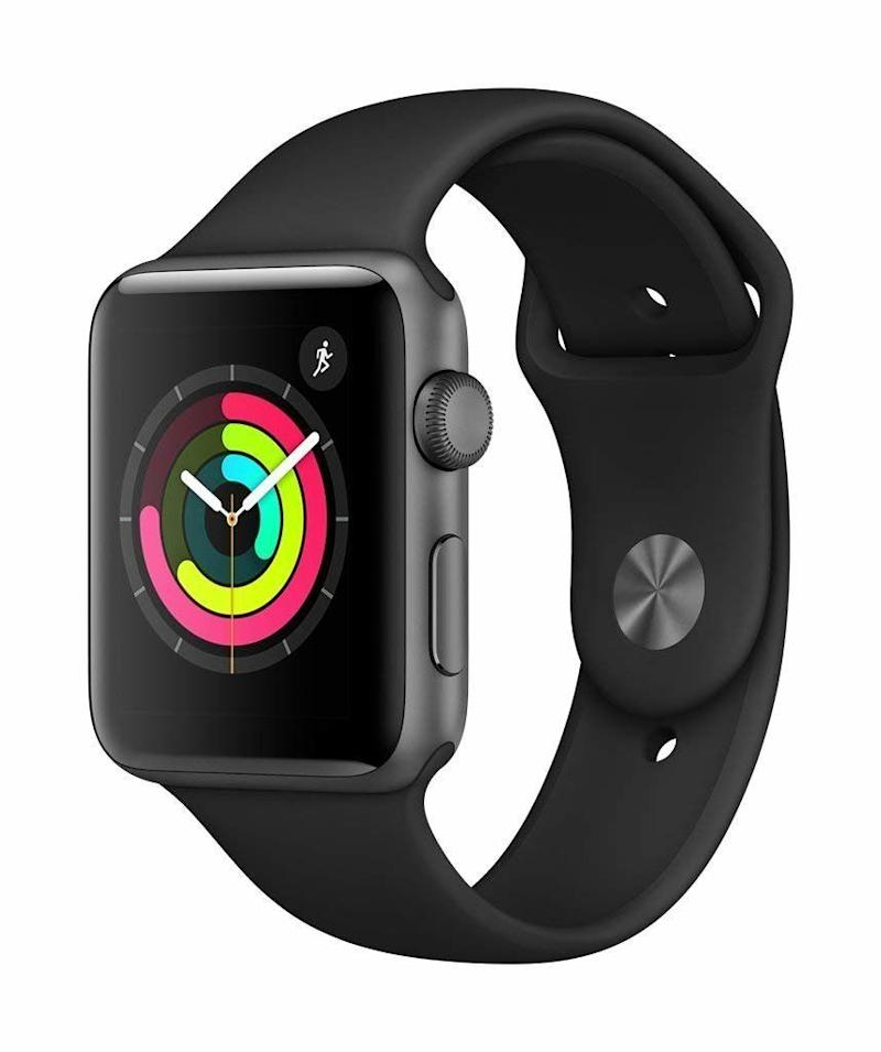 Apple Watch Series 3 (GPS, 42mm), Space Gray Aluminium Case with Black Sport Band. (Photo: Amazon)