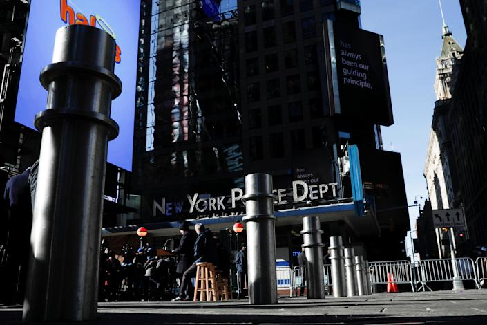 Additional bollards on sidewalks and plazas to protect pedestrians in New York City's Times Square. (Mike Segar/Reuters)