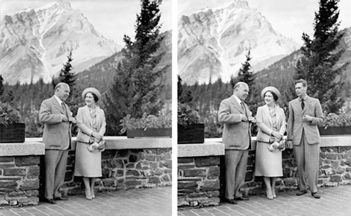 Perhaps in an attempt to not have his presence dwarfed, Canadian Prime Minister William Lyon Mackenzie King had King George VI removed from the original photograph of him and Queen Elizabeth.