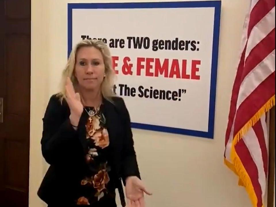 <p>Marjorie Taylor Greene installed a sign insisting there were only two genders in the halls of Congress on Wednesday.</p> (Twitter @repMTG)