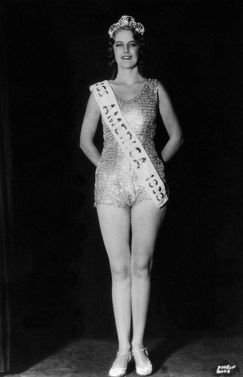 <p>Margarethe Ekdahl from Tampa, Florida wore a sequined unitard with her Miss America crown in 1930. She was decades ahead of her time, sporting the look way before bodysuits were in. </p>