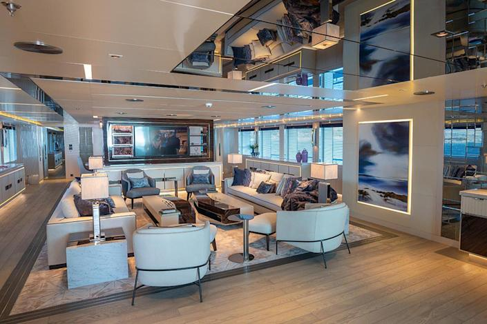 Living area on the superyacht Tatina by IYC