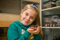 Meet the eight-year-old conservationist who loves spiders so much that she shares her bedroom - with more than 50 of them. Hollie Greenhalgh also keeps two snakes and a scorpion as well as enclosures full of millipedes, grasshoppers, cockroaches and snails in her own impressive mini zoo. The exotic pets are kept in separate enclosures and Hollie spends around three hours every weekend feeding them all. The youngster, who aspires to be the next David Attenborough, hosts her own educational YouTube channel which has more than 6,000 subscribers.