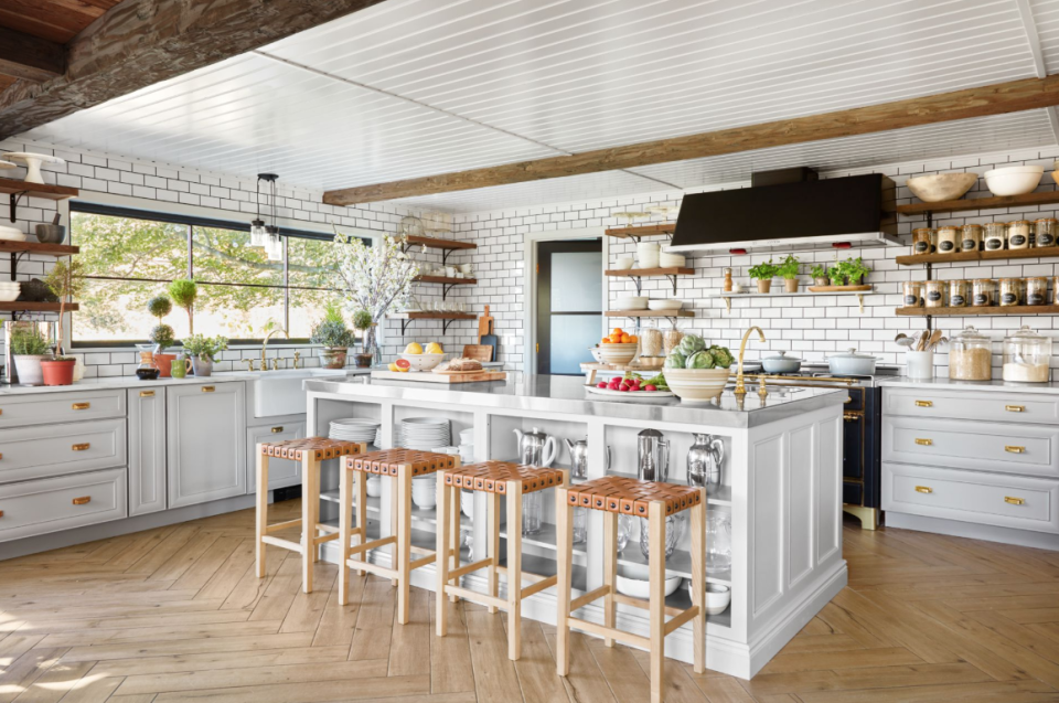 "<p>While the all-white kitchen will probably never go out of style, there are lots of new design trends for 2021 that will make you equally happy. Think: natural elements with some pops of color as well as a visit to the dark side with colors you might never expect. We know, we know. You've already carefully chosen every appliance, picked out each piece of hardware, and planned your <a href=""https://www.countryliving.com/home-design/decorating-ideas/g1213/kitchen-designs/"" rel=""nofollow noopener"" target=""_blank"" data-ylk=""slk:kitchen design"" class=""link rapid-noclick-resp"">kitchen design</a> to a T, but there are ways to dip your toes into the world of color without messing up your <a href=""https://www.countryliving.com/home-design/decorating-ideas/g4263/rustic-farmhouse-kitchen-ideas/"" rel=""nofollow noopener"" target=""_blank"" data-ylk=""slk:rustic farmhouse kitchen"" class=""link rapid-noclick-resp"">rustic farmhouse kitchen </a>aesthetic. On the color front, why not try painting your ceiling a fun color, like Haint Blue? How about hauling in some colorful appliances?<br></p><p>If you've been wanting to layer in more natural elements, try ""sustainable"" and ""eco-friendly"" items. These are words that are popping up more and more, with many companies offering green solutions for cabinets and shelving. You can also think about bringing in handmade tiles in materials like terra-cotta and cement—a great solution for adding a little more soul to your space, regardless of whether or not you opt to completely switch over to a <a href=""https://www.countryliving.com/home-design/decorating-ideas/how-to/g860/farmhouse-style-0809/"" rel=""nofollow noopener"" target=""_blank"" data-ylk=""slk:farmhouse style"" class=""link rapid-noclick-resp"">farmhouse style</a> vibe.<br></p><p>When it comes to countertops, quartz is quickly becoming an affordable and low maintenance alternative to our beloved marble. There are even new trends for accessorizing your countertops, like vintage plate racks made to display your grandmother's china. Hardware and metal finishes continue to push the envelope—think brass, nickel, and matte black. Removable wallpaper companies are making it even easier to experiment with pattern on walls and backsplashes. Consider 2021 as the year of the kitchen!<br></p>"