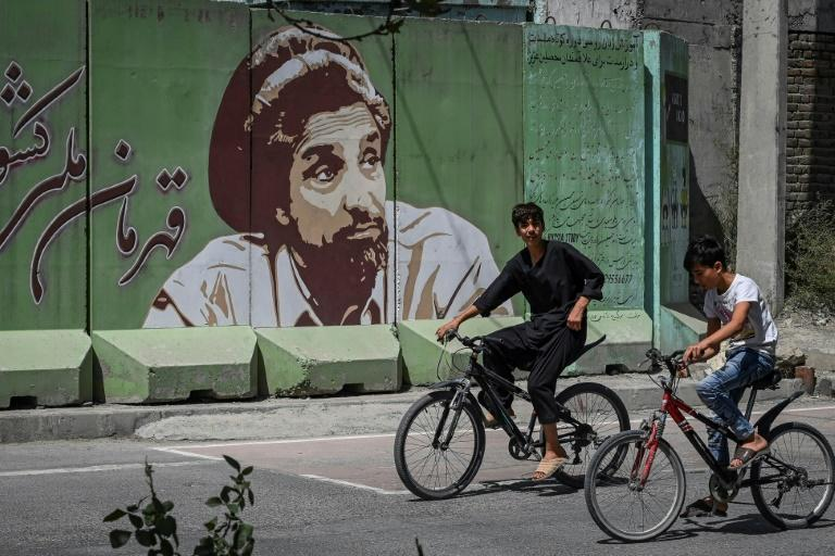 There are murals and billboards all over Kabul with the face of revered Afghan guerrilla commander Ahmad Shah Massoud (AFP/Aamir QURESHI)