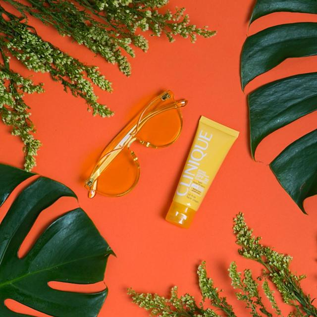 "<p>Rumba Spring Sunglasses in Sunshine Yellow, $40, <a href=""https://rumbatime.com/collections/spring-sunglasses/products/spring-sunglasses-sunshine"" rel=""nofollow noopener"" target=""_blank"" data-ylk=""slk:Rumba Sunglasses"" class=""link rapid-noclick-resp"">Rumba Sunglasses</a><br> Clinique Broad Spectrum SPF 30 Suncreen Oil-Free Face Cream, $26.50, <a href=""http://www.clinique.com/product/1660/48282/sun/sun-self-tanners/broad-spectrum-spf-30-sunscreen-oil-free-face-cream"" rel=""nofollow noopener"" target=""_blank"" data-ylk=""slk:clinique.com"" class=""link rapid-noclick-resp"">clinique.com</a><br>(Photo: Casey Hollister for Yahoo Style) </p>"