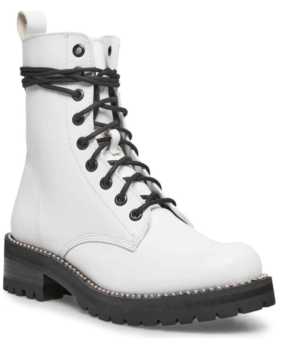 Steven New York Gardy Combat Boot in White Leather