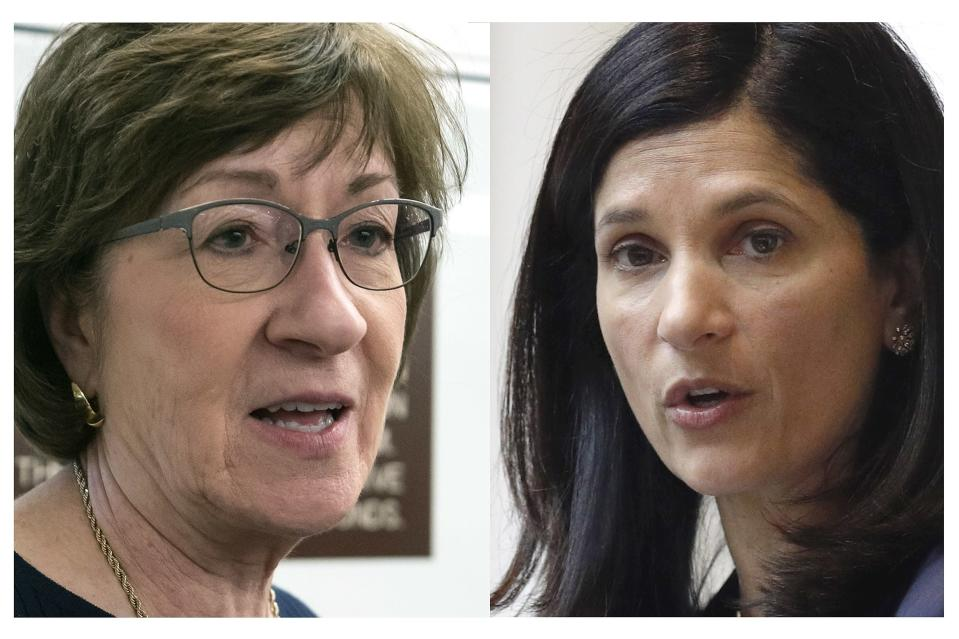FILE - This pair of file photos shows incumbent U.S. Sen. Susan Collins, R-Maine, left, and Maine House Speaker Sara Gideon, D-Freeport, right, who are running for Senate in the Nov. 3, 2020 election. (AP Photos, File)
