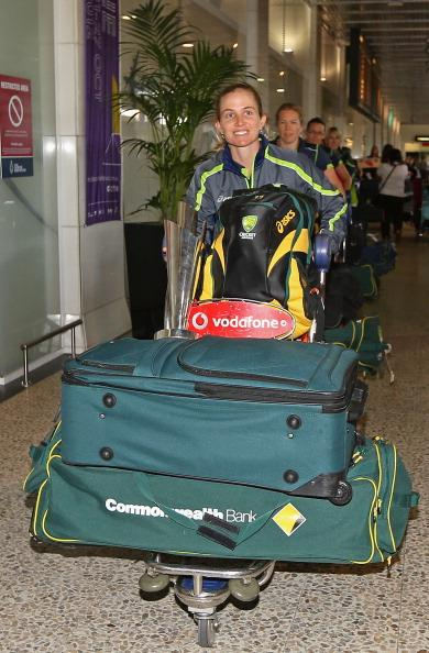 MELBOURNE, AUSTRALIA - OCTOBER 09:  Jodie Fields of the Southern Stars arrives back home to Australia after winning the 2012 ICC Women's T20 World Cup, at Melbourne International Airport on October 9, 2012 in Melbourne, Australia.  (Photo by Quinn Rooney/Getty Images)