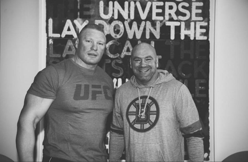 Dana White tweeted this photo with Brock Lesnar during Sunday's WWE event. (Twitter/@danawhite)