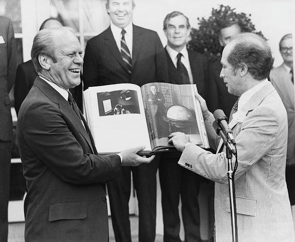 "<p>Canada Prime Minister Pierre Trudeau presented Gerald Ford with a book filled with pictures of boundaries as a symbol of peace. ""People usually think of boundaries as dividing people,"" Trudeau <a href=""http://www.presidency.ucsb.edu/ws/index.php?pid=6134"" rel=""nofollow noopener"" target=""_blank"" data-ylk=""slk:said in the exchange"" class=""link rapid-noclick-resp"">said in the exchange</a>. ""...We will see in pictures what everyone knows on your side and on our side of the boundary—that these boundaries don't divide us. They bring us together."" It was presented as a Bicentennial gift. </p>"
