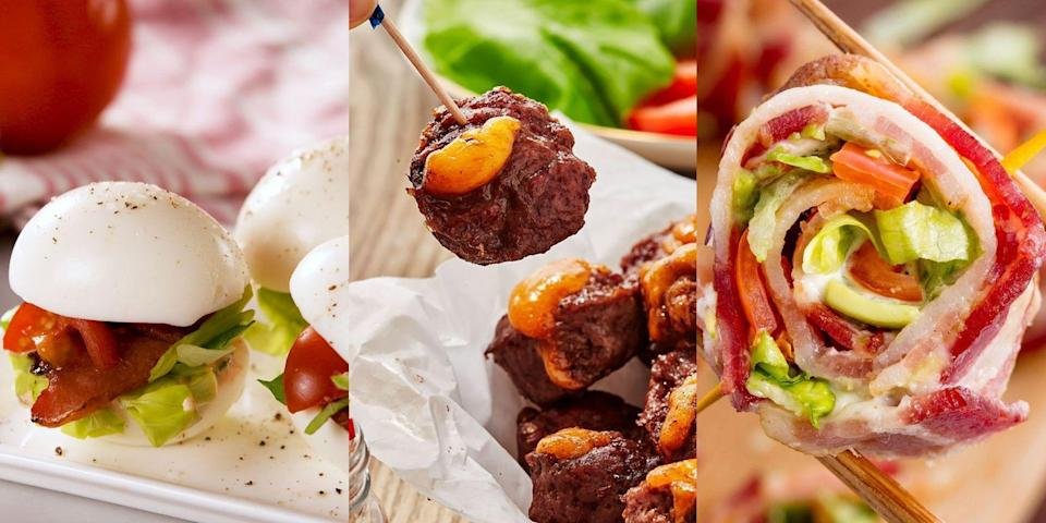 "<p>Eating low carb doesn't have to mean saying no to snacks. You can enjoy just as tasty (if not, tastier) snacks throughout the day, it's just about what type of snacks you're reaching for. We're all about <a href=""https://www.delish.com/uk/cooking/a34435205/blt-egglets-recipe/"" rel=""nofollow noopener"" target=""_blank"" data-ylk=""slk:BLT Egglets"" class=""link rapid-noclick-resp"">BLT Egglets</a>, <a href=""https://www.delish.com/uk/cooking/recipes/a30747821/keto-burger-fat-bombs-recipe/"" rel=""nofollow noopener"" target=""_blank"" data-ylk=""slk:Keto Burger Fat Bombs"" class=""link rapid-noclick-resp"">Keto Burger Fat Bombs</a> (more appealing than they sound, we promise) and <a href=""https://www.delish.com/uk/cooking/recipes/a31327674/keto-bacon-sushi-recipe/"" rel=""nofollow noopener"" target=""_blank"" data-ylk=""slk:Keto Bacon Sushi"" class=""link rapid-noclick-resp"">Keto Bacon Sushi</a>. Need some inspiration? We've rounded up our top 10! Take a look now. </p><p>And since you're here, you're probably thinking about <a href=""https://www.delish.com/uk/cooking/recipes/g34974223/low-carb-lunch/"" rel=""nofollow noopener"" target=""_blank"" data-ylk=""slk:what to have for lunch"" class=""link rapid-noclick-resp"">what to have for lunch</a>, too...</p>"